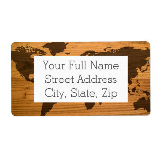 World Map on Wood Grain Shipping Label