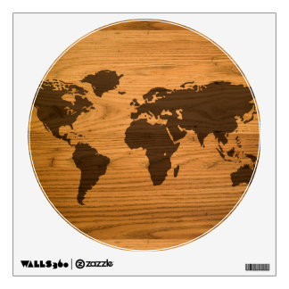World Map on Wood Grain Wall Decal
