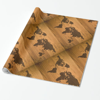 World Map on Wood Grain Wrapping Paper