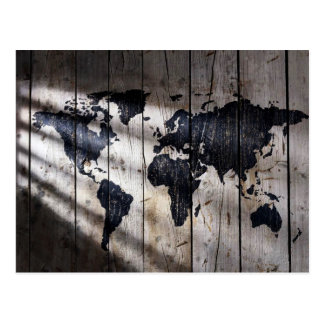 World map on wood texture postcard
