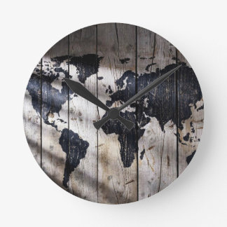 World map on wood texture round clock
