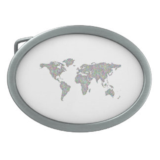 World map oval belt buckles