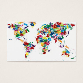 World Map Paint Drops Business Card