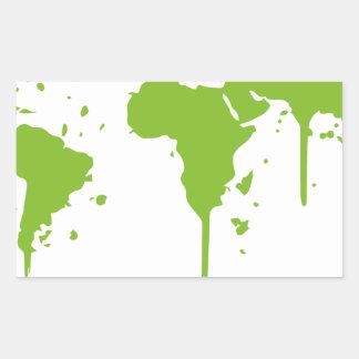 World Map Painted Green Graffiti Sticker