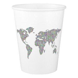 World map paper cup
