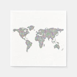 World map paper napkins