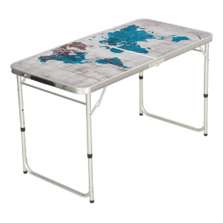 world map Party Size Pong Table