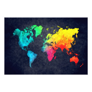 world map photo print