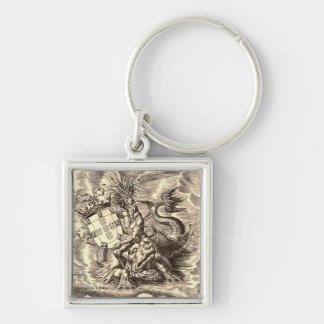 World Map Poseidon Riding Dolphin Silver-Colored Square Keychain