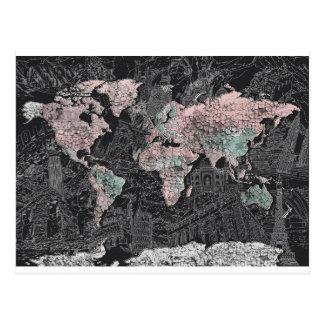 world map postcard