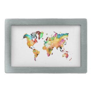 world map rectangular belt buckle