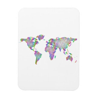 World map rectangular photo magnet
