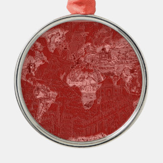 world map red 1 metal ornament