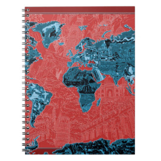 world map red 2 spiral notebook