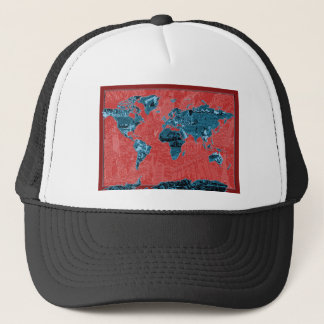 world map red 2 trucker hat
