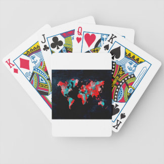 world map red black bicycle playing cards
