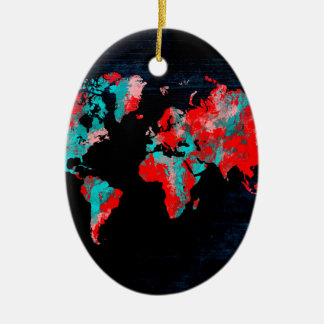 world map red black ceramic ornament