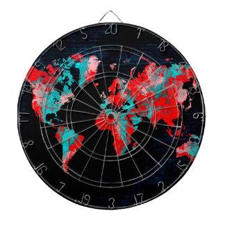 world map red black dartboard