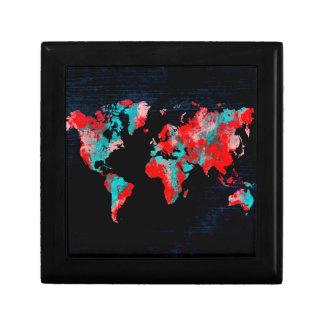 world map red black gift box