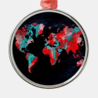 world map red black metal ornament