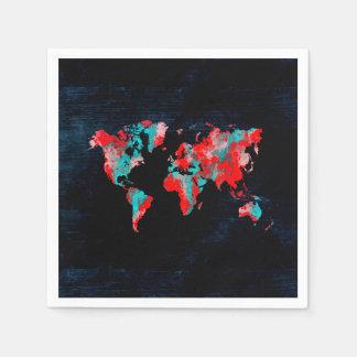 world map red black napkin