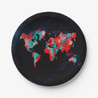 world map red black paper plate