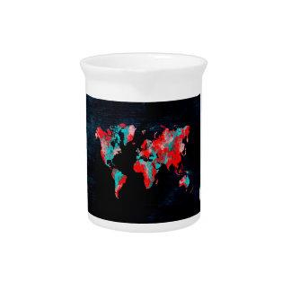 world map red black pitcher