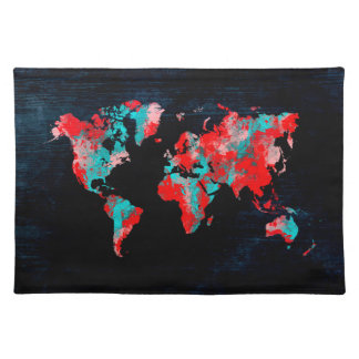 world map red black placemat