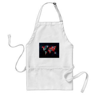 world map red black standard apron