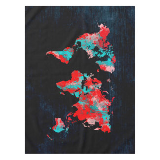 world map red black tablecloth