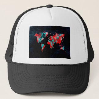 world map red black trucker hat