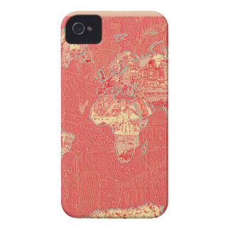 world map red Case-Mate iPhone 4 case
