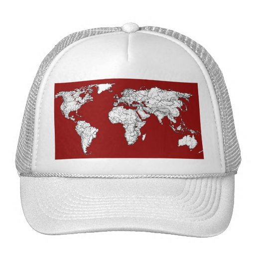 World map red white mesh hats