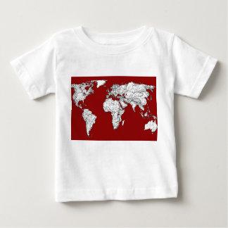 World map red white tee shirts