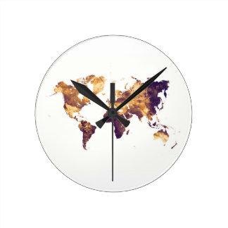 world map round clock