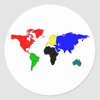 World map round sticker
