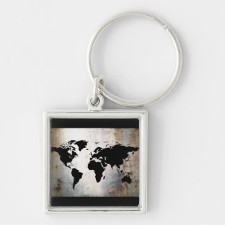 World Map Rusted Metal Silver-Colored Square Keychain