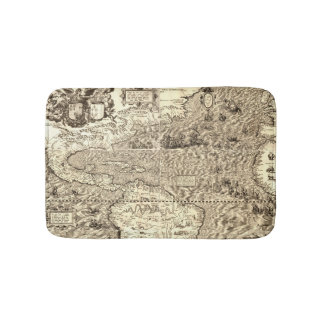 World Map Sea Serpents Bath Mat