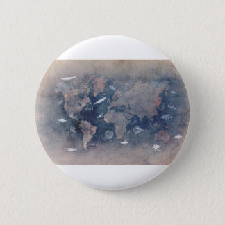 world map sealife 2 inch round button