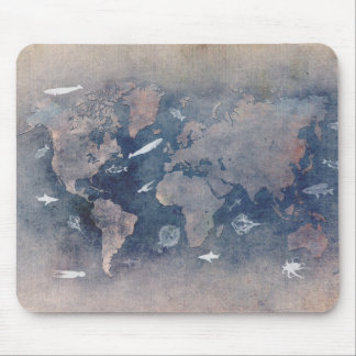 world map sealife mouse pad