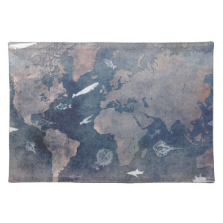 world map sealife placemat