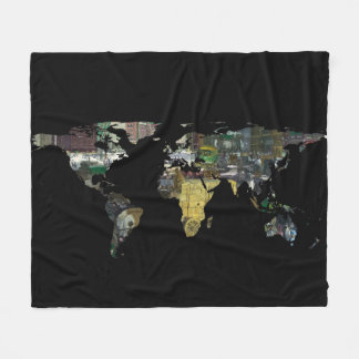 World Map Silhouette - A Busy World Painting Fleece Blanket