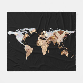 World Map Silhouette - Abstract Photo-Mandala Fleece Blanket