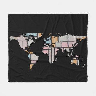 World Map Silhouette - Abstract Piet Mondrian Fleece Blanket