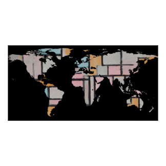 World Map Silhouette - Abstract Piet Mondrian Poster