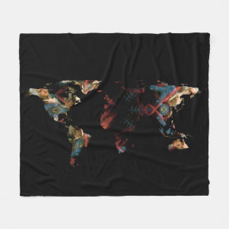 World Map Silhouette - Ben Franklin Mandala Fleece Blanket