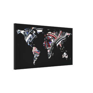 World Map Silhouette - Bike Tires Canvas Print
