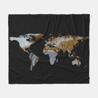 World Map Silhouette - Coastal Trees Painting Fleece Blanket