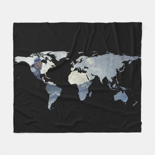 World Map Silhouette - Fisherman on The Ocean Fleece Blanket