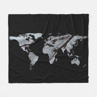 World Map Silhouette - Frozen Winter Trees Fleece Blanket